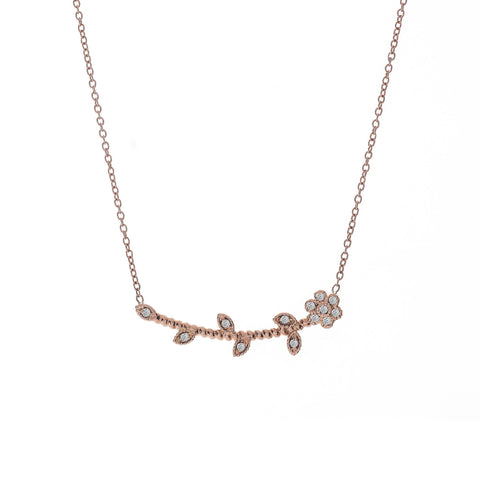 Flower and Diamond Necklace