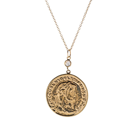 Large Coin and Diamond Necklace