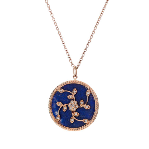 Diamond with Lapis Tree of Life Necklace
