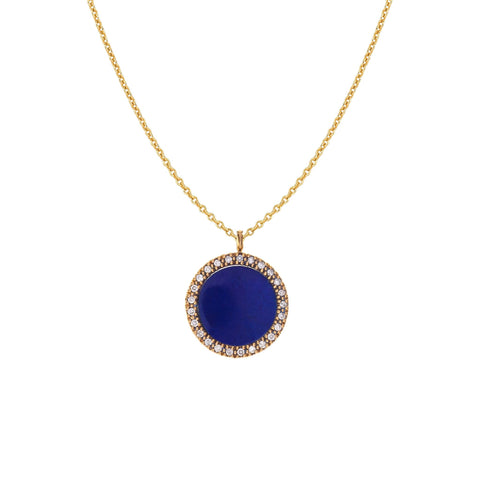 Diamond Circle with Lapis Necklace