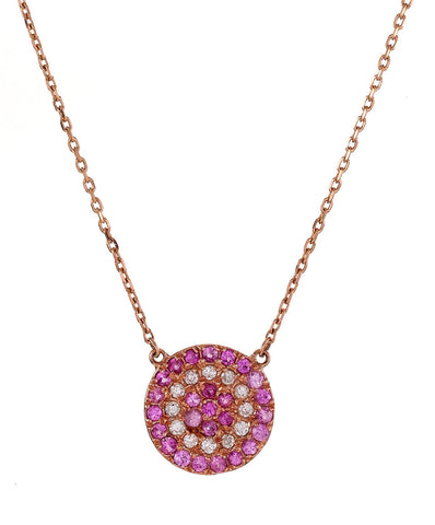 Diamonds and Pink Sapphires Disc Necklace