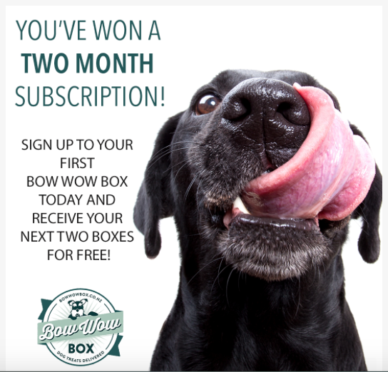 You've WON! Two FREE SMALL Bow Wow Boxes.