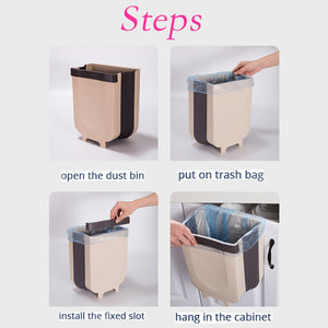 Steps of Cabinet movable Trash can