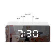 Load image into Gallery viewer, LED Mirror Alarm Clock with Digital Snooze UAE