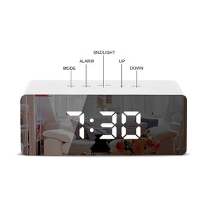 LED Mirror Alarm Clock with Digital Snooze UAE