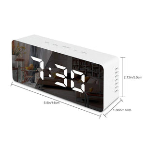 LED Mirror Alarm Clock with Digital Snooze