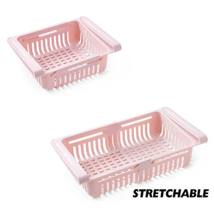 Pink Stretchable Fridge Organizer