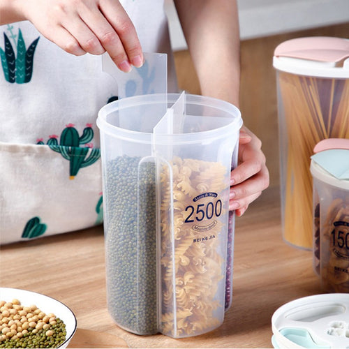 4-Grid Kitchen Cereal Dispenser Storage Box