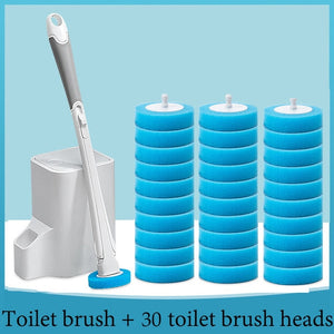 Bathroom Disposable Toilet Brush with 30 Brush Heads