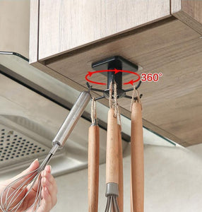 Kitchen cabinet rotating hook organizer