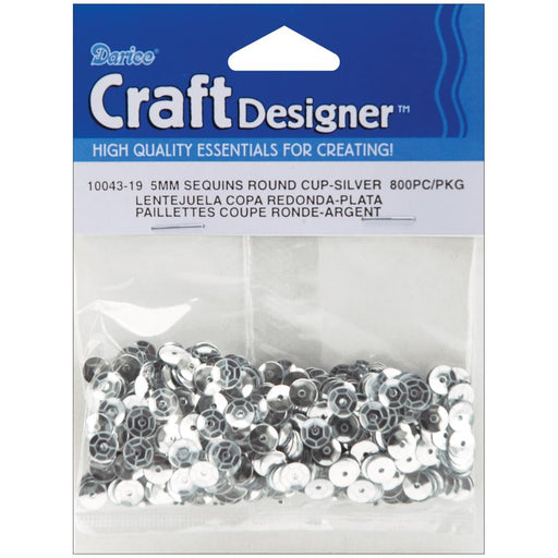 Cupped Sequins 5mm 800/Pkg Silver