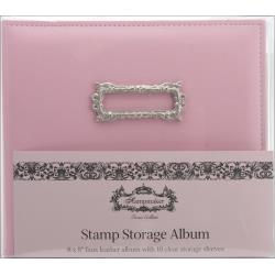 "Stamp Storage Album - 10 Sleeves 8""X8"" Pink Faux Leather"