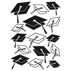 "Embossing Folder 4.25""X5.75"" Graduation Hat Background"