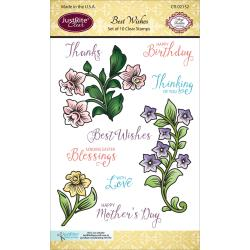 "JustRite Papercraft Clear Stamps 4""X6"" Best Wishes"