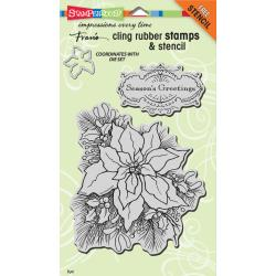 Stampendous Stamp CRS5081 Cling Create A Poinsettia