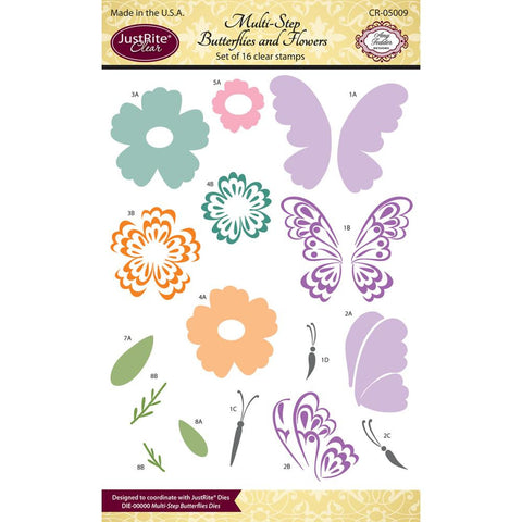 "JustRite  Clear Stamps Multy-Step Butterflies and Flowers  4""X6"""