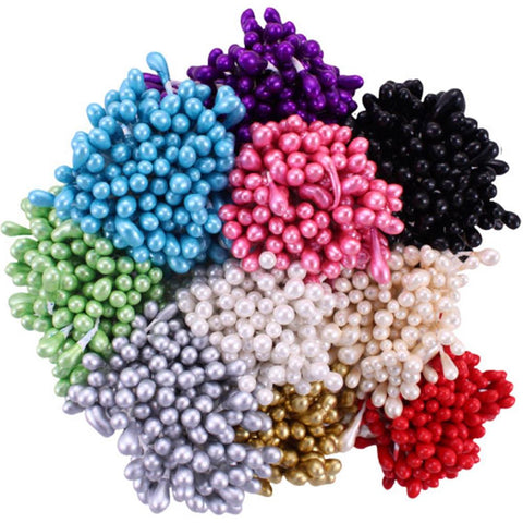 Heartfelt Creations Pearl Stamens Medium 10/Pkg - Assorted