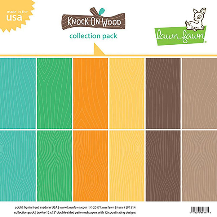 "Lawn Fawn Double-Sided Collection Pack 12""X12"" 12/Pkg - Knock On Wood 6 Designs/2 Each"