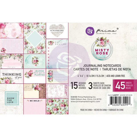 "Misty Rose Journaling Cards Pad 4""X6"" 45/Pkg"
