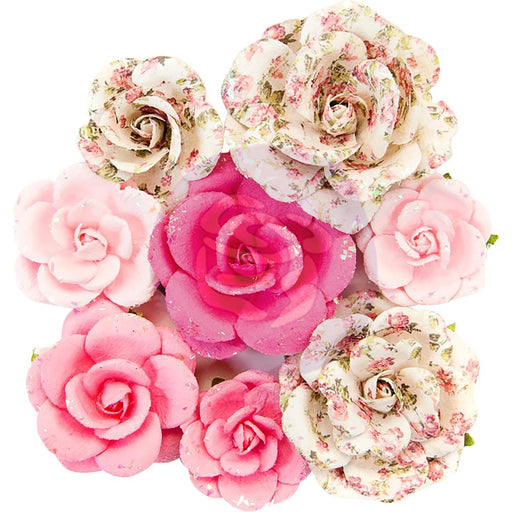Misty Rose Mulberry Paper Flowers 8/Pkg