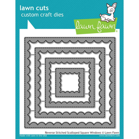 Lawn Cuts Custom Craft Die - Reversed Stitched Scalloped Square Window