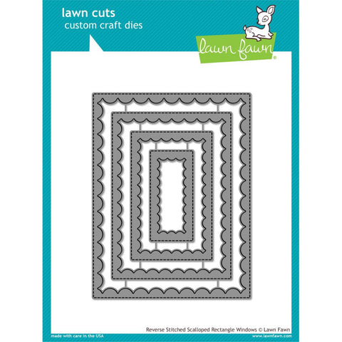 Lawn Cuts Custom Craft Die - Reverse Stitch Scallop Rectangle Window