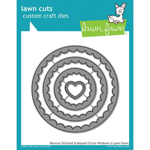 Lawn Cuts Custom Craft Die - Reverse Stitched Scalloped Circle Window