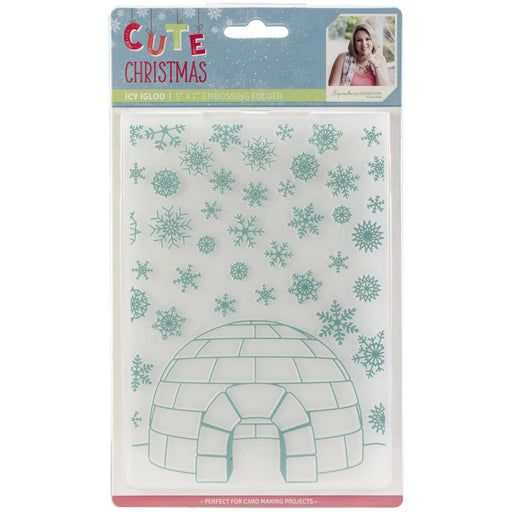 "Sara Davies Signature Cute Christmas 5""X7"" Embossing Folder Icy Igloo"
