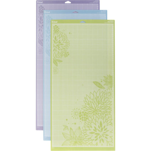 "Cricut Adhesive Back Cutting Mats 12""X24"" 3/Pkg Green, Blue & Purple"