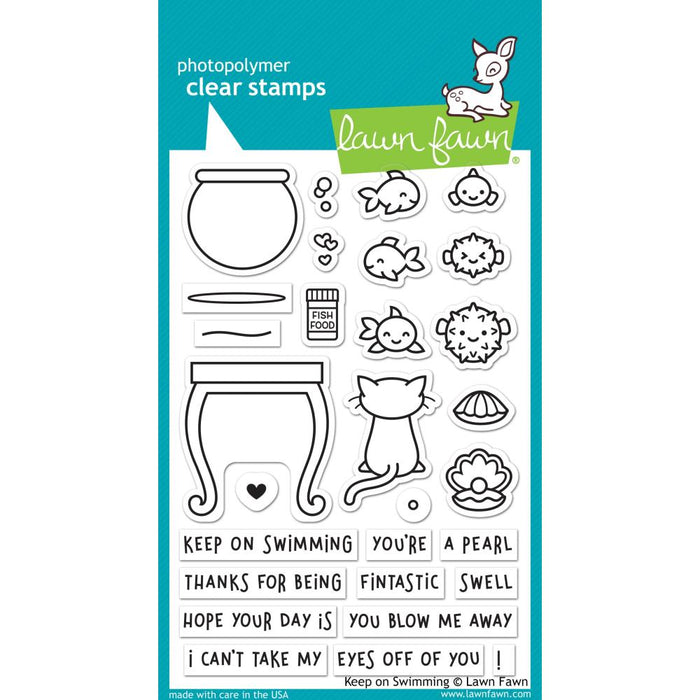 "Lawn Fawn Clear Stamps 4""X6"" - Keep On Swimming"