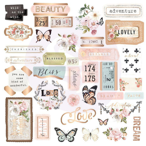 Apricot Honey Cardstock Ephemera 37/Pkg - Shapes, Tags, Words, Foiled Accents