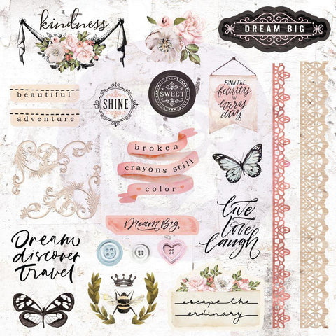 Apricot Honey Cardstock Ephemera 51/Pkg - Shapes, Tags, Words, Foiled Accents
