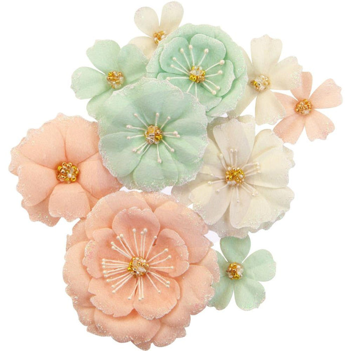Prima Marketing Mulberry Paper Flowers - Blush & Mint/Apricot Honey