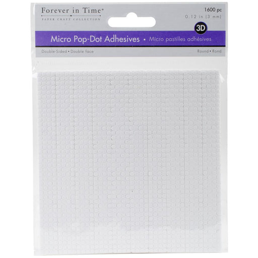"MultiCraft 3D Pop Dots Dual-Adhesive Micro Foam Adhesives - White Round, .12"" 1600/Pkg"
