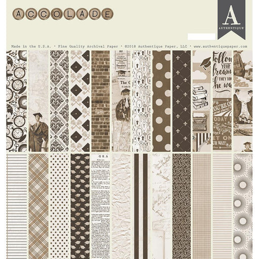 "Authentique Double-Sided Cardstock Pad 12""X12"" 24/Pkg - Accolade, 8 Designs/3 Each"