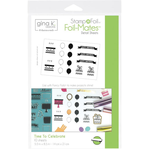 Gina K Designs StampnFoil Foil-Mates Detail Sheets 10/Pkg - Time to Celebrate