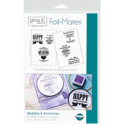 "Gina K Designs Foil-Mates Sentiments 5.5""X8.5"" 12/Pkg Wedding & Anniversary"
