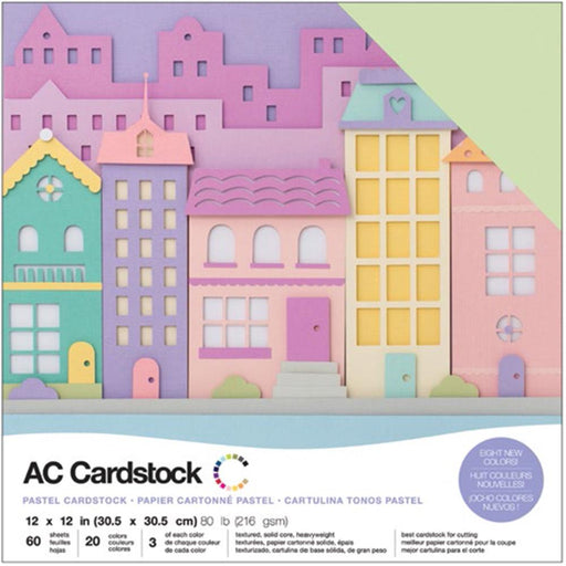 "American Crafts Variety Cardstock Pack 12""X12"" 60/Pkg - Pastels"