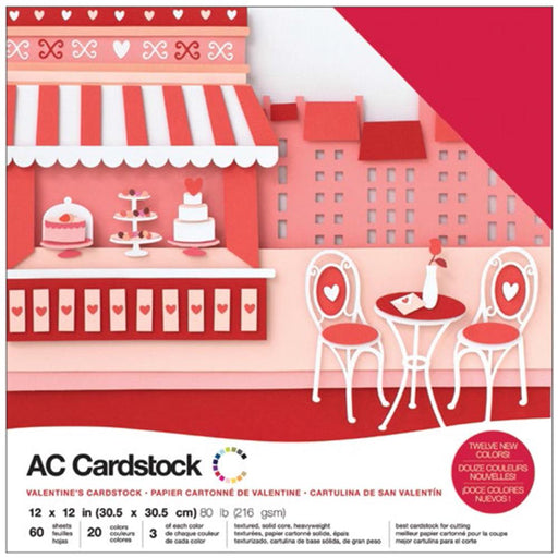 "American Crafts Variety Cardstock Pack 12""X12"" 60/Pkg - Valentines"