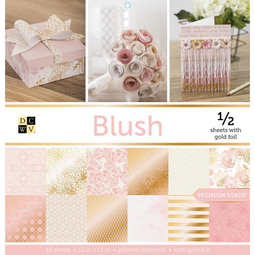 "DCWV Single-Sided Cardstock Stack 12""X12"" 48/Pkg - Blush, 24 Designs/2 Each, 12 W/Foil"