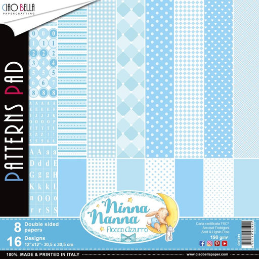 "Ciao Bella Double-Sided Paper Pack 90lb 12""X12"" 8/Pkg - Ninna Nanna Boy, 8 Designs/1 Each"