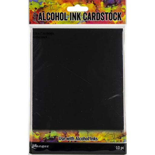 "Tim Holtz Alcohol Ink Cardstock 5""X7"" 10/Pkg - Matte Black"