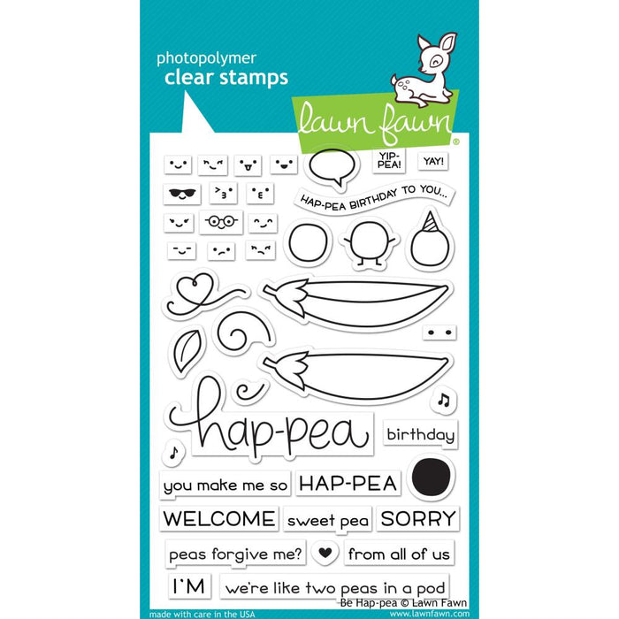 "Lawn Fawn Clear Stamps 4""X6"" - Be Hap-Pea"