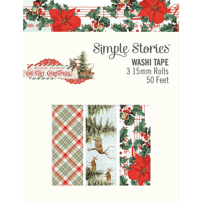 Simple Stories Country Christmas Washi Tape 3/Pkg