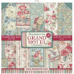"Stamperia Double-Sided Paper Pad 12""X12"" 10/Pkg Grand Hotel, 10 Designs/1 Each"