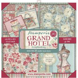 "Stamperia Double-Sided Paper Pad 12""X12"" 22/Pkg Grand Hotel, 22 Designs/1 Each"