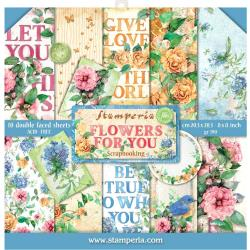 "Stamperia Double-Sided Paper Pad 8""X8"" 10/Pkg Flowers For You Aquarelle, 10 Designs"
