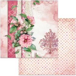 "Stamperia Double-Sided Cardstock 12""X12"" Flowers For You On Pink Background"