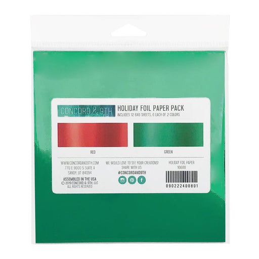 "Concord & 9th Foil Paper Pack 6""X6"" 12 Sheets - Holiday; 6 Sheets Each Of 2 Colors"
