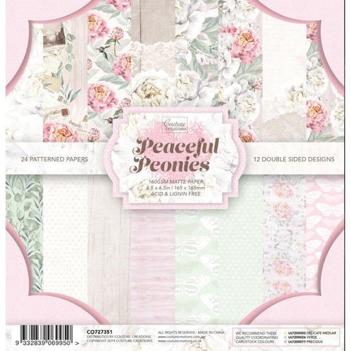 "Couture Creations Double-Sided Paper Pad 6.5""X6.5"" 24/Pkg - Peaceful Peonies"